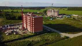 Aerial view of multi-storey building construction stock video