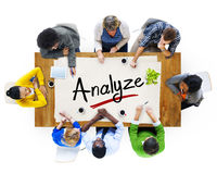 Aerial View of Multiethnic Group with Analyze Concept Stock Photos