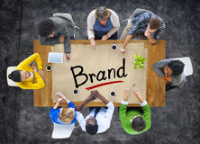 Aerial View of Multiethnic Group with Brand Concept.  royalty free stock photos