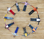 Aerial View of Multiethnic People Forming Circle Stock Image