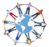 Aerial View of Multiethnic People Forming Circle and Globe Royalty Free Stock Image