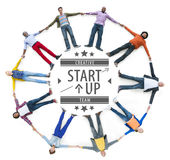 Aerial View of Multiethnic People with Startup Business Concept Stock Photography