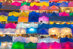 Aerial view of multiple colour of flea market roof top Stock Image