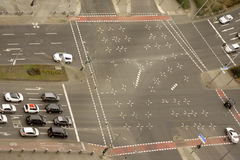 Aerial View Multiple Lane Road Royalty Free Stock Images
