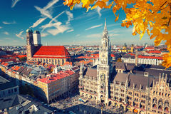Aerial view of Munchen. Marienplatz, New Town Hall and Frauenkirche Royalty Free Stock Photo