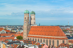 Aerial view of Munchen Marienplatz, New Town Hall and Frauenkirche Royalty Free Stock Photography