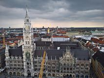 Aerial view of Munchen:  New Town Hall. Aerial view of Munchen under stormy sky Royalty Free Stock Image