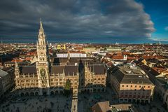 Aerial view of Munich city under dark clouds during winter day Stock Image
