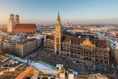Aerial view on Munich old town hall or Marienplatz town hall and Royalty Free Stock Image