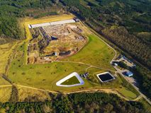 Aerial view of municipal landfill site stock photo