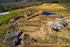 Aerial view of municipal landfill site Stock Photos