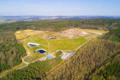 Aerial view of municipal landfill site Stock Image