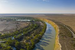 Aerial view of Murray River in South Australia stock image