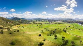 Aerial View of Murwillumbah. Aerial view of farmland near the town of Murwillumbah and Wollumbin National Park Mt Warning in rural New South Wales, Australia Stock Photography