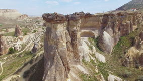 Aerial view of mushroom rocks in Cappadocia stock video footage