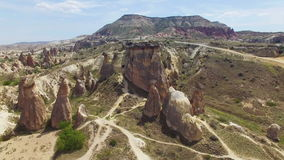 Aerial view of mushroom rocks in Cappadocia stock video