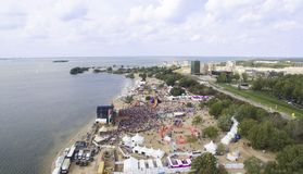 Aerial view on a music festival stock photography