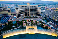 Aerial view of musical fountains in Las Vegas Royalty Free Stock Image