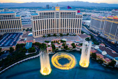 Aerial view of musical fountains in Las Vegas Royalty Free Stock Images
