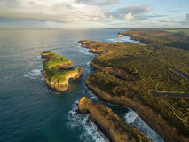 Aerial view of Mutton Bird Island arches and Elephant rock at su Royalty Free Stock Images