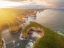 Aerial view of Mutton Bird Island arches at sunrise. Great Ocean Road, Victoria, Australia Stock Photo