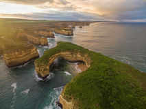 Aerial view of Mutton Bird Island arches at sunrise Stock Photography