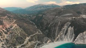 Aerial view of Myrtos beach, the most beautiful beach of Kefalonia stock video footage