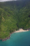 Aerial View Of Na Pali Coast. View from helicopter of coastline Royalty Free Stock Image
