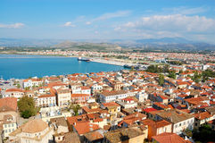 Aerial view of nafplio, greece stock photography