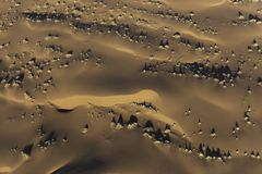 Aerial view of Namib desert sand dunes. Taken in early morning light to show the details in the sand royalty free stock image