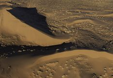Aerial view of Namib desert sand dunes. From an early morning helicopter ride royalty free stock image