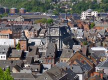 Aerial view of Namur city with the beautiful facade of Saint Loup church, Belgium royalty free stock images