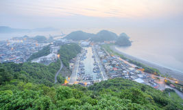 Aerial view of Nanfangao harbor at dawn, a fishing village on northeastern coast of Taipei Taiwan Royalty Free Stock Photography