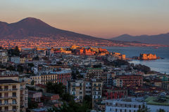 Aerial view of Naples with castle and Vesuvius mount royalty free stock photos