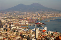 Aerial view of Naples city with Mount Vesuvius Royalty Free Stock Photo