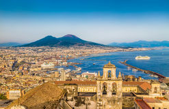 Aerial view of Naples with Mount Vesuvius at sunset, Campania, Italy. Scenic picture-postcard view of the city of Naples (Napoli) with famous Mount Vesuvius in Royalty Free Stock Image