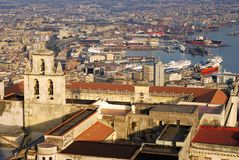 Aerial view of Naples port and castle bell tower Royalty Free Stock Photo