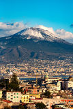 Aerial view of Naples with Vesuvius mount with snow Stock Image