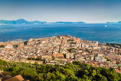 Aerial view of Napoli with Gulf of Naples at sunset, Campania, Italy Stock Image