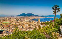 Aerial view of Napoli with Mount Vesuvius at sunset, Campania, Italy stock images