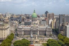 Aerial view of National Congress Building at Plaza Congreso - Buenos Aires, Argentina royalty free stock image