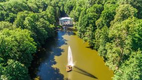 Aerial view of the national dendrological park Sofiyivka. View of the Snake Fountain and Flora Pavilion Royalty Free Stock Image