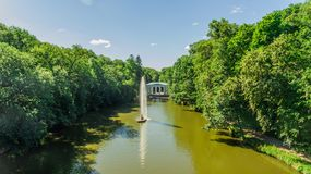 Aerial view of the national dendrological park Sofiyivka. View of the Snake Fountain and Flora Pavilion Royalty Free Stock Photo
