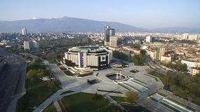 Aerial view of National Palace of Culture NDK, Sofia, Bulgaria. At sunrise royalty free stock photos