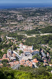 Aerial view of the National Palace in Sintra. Aerial view of Sintra and Sintra National Palace. Sintra is a major tourist centre near Lisbon, Portugal Royalty Free Stock Photos