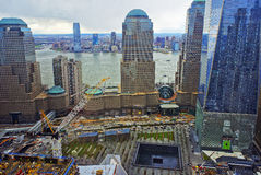 Aerial view of National September 11 Memorial of Financial Distr Royalty Free Stock Photography
