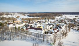 Aerial view of Monastery near Borovsk, Russia royalty free stock photos