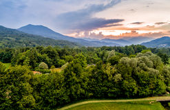 Aerial view of natural landscape of sunset in the mountains royalty free stock photography