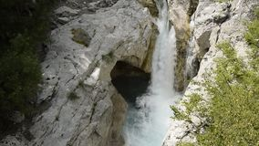 Aerial view on natural waterfall, Albania. Europe stock video