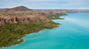 Aerial view of Naturalist Island, Prince Frederick Harbour, Kimberley coast, Australia royalty free stock images